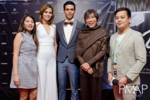 Outgoing President Angel Agustin and incumbent President Raphael Kiefer with designer Renee Salud